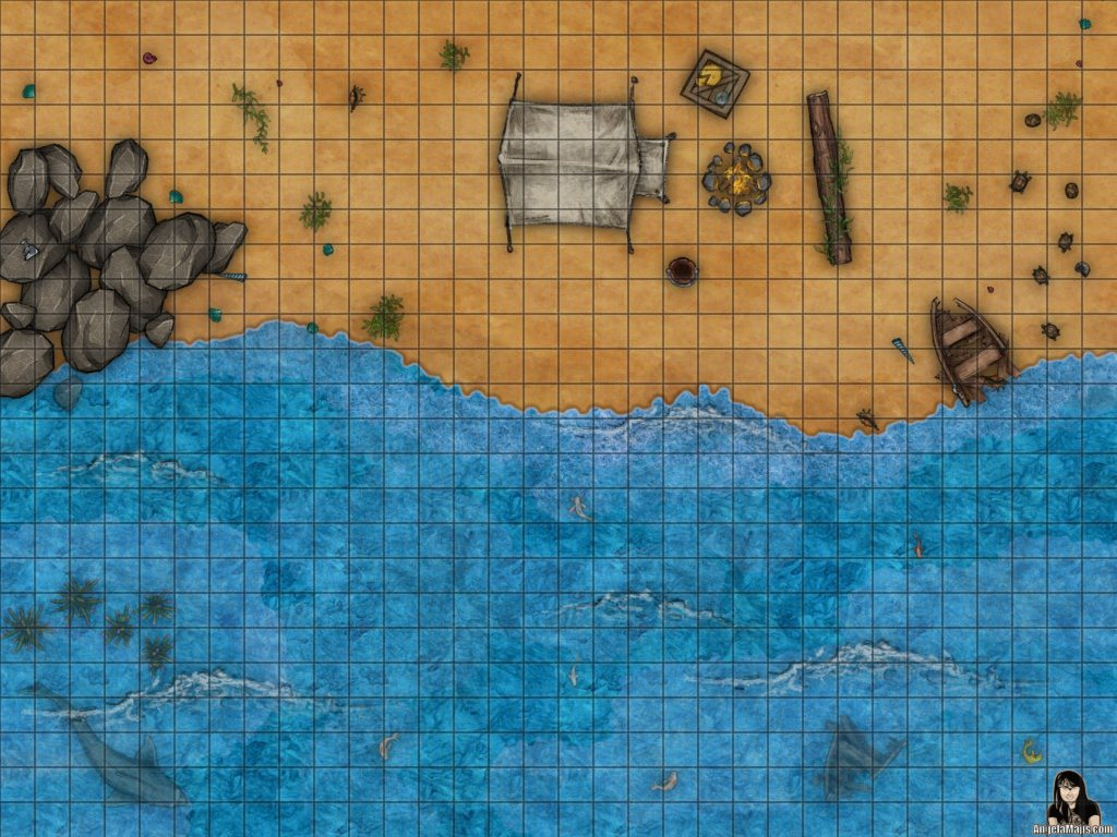 Beach campsite battle encounter map for D&D or pathfinder