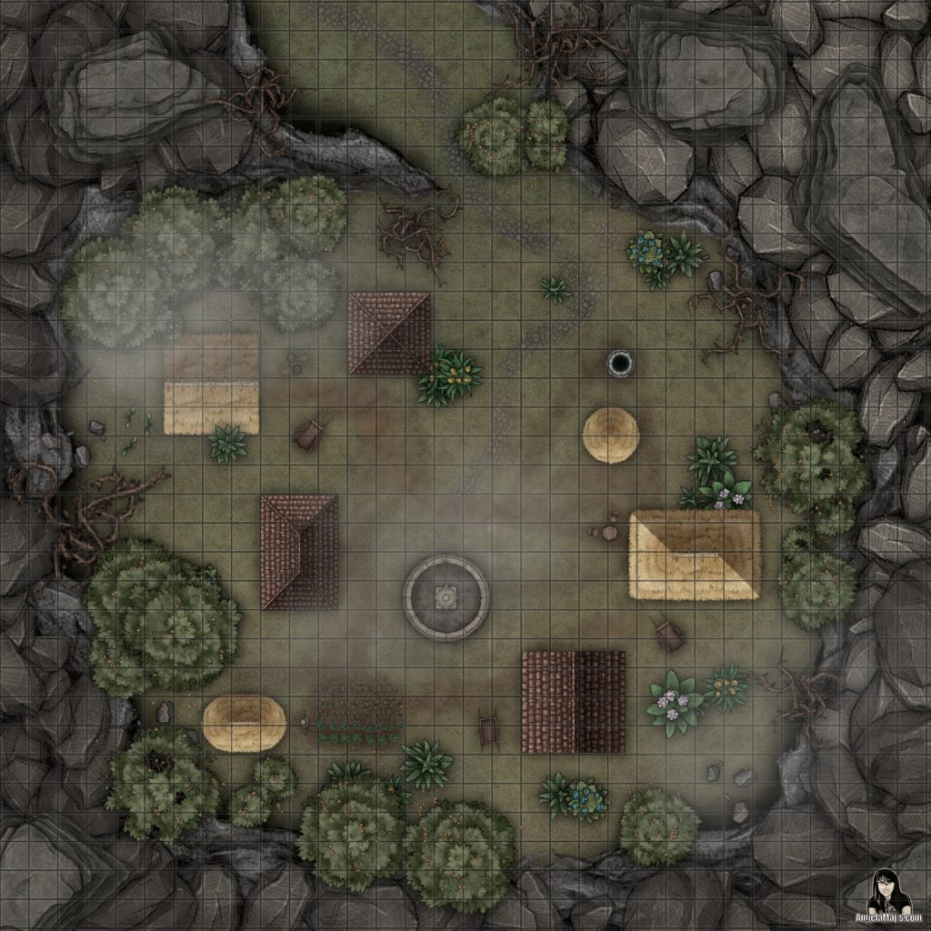 Small village in a crater battle map encounter for D&D or Pathfinder TTRPGs.