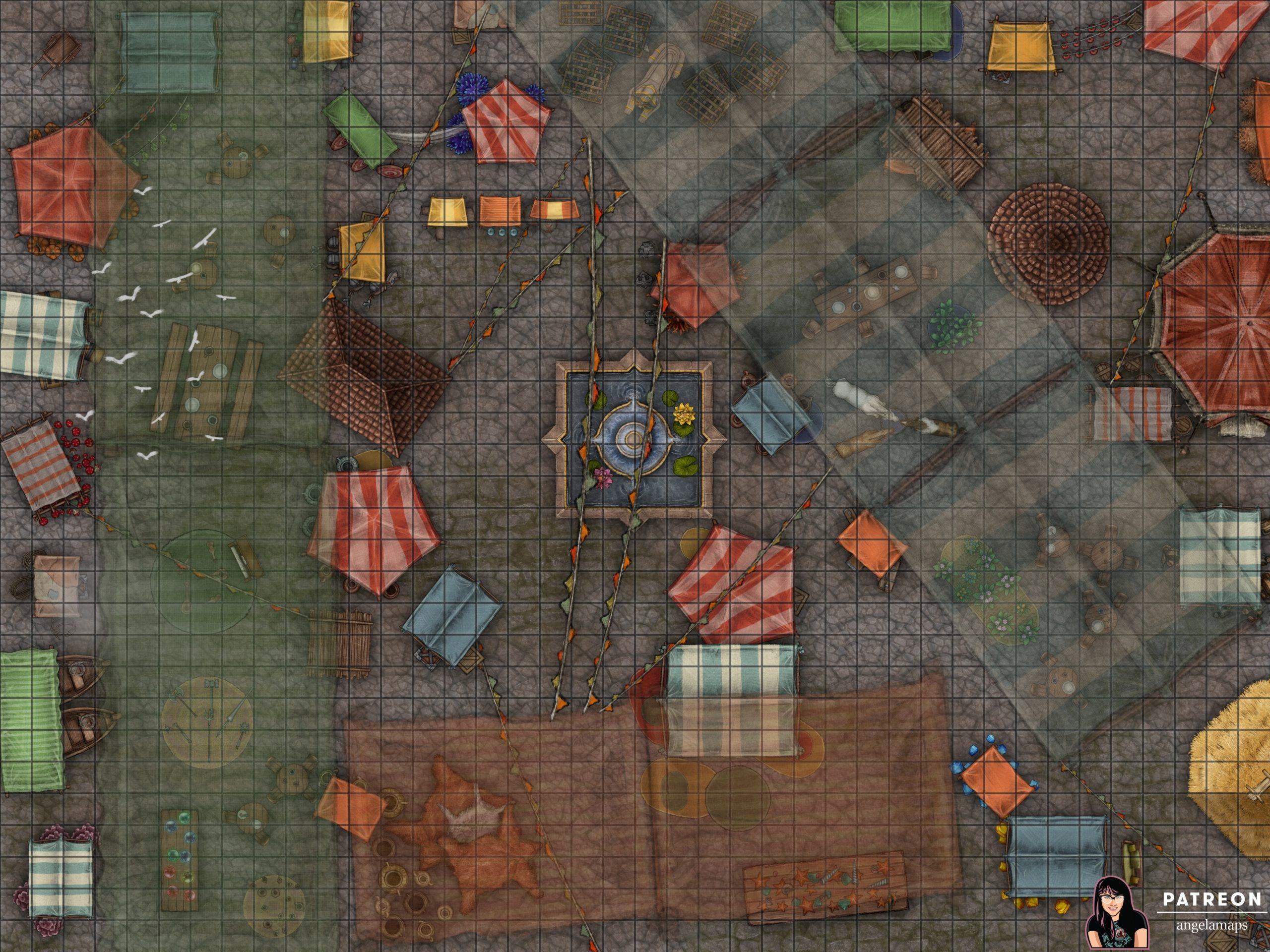 Great Bazaar battle map encounter at an outdoor market place for D&D or Pathfinder TTRPGs
