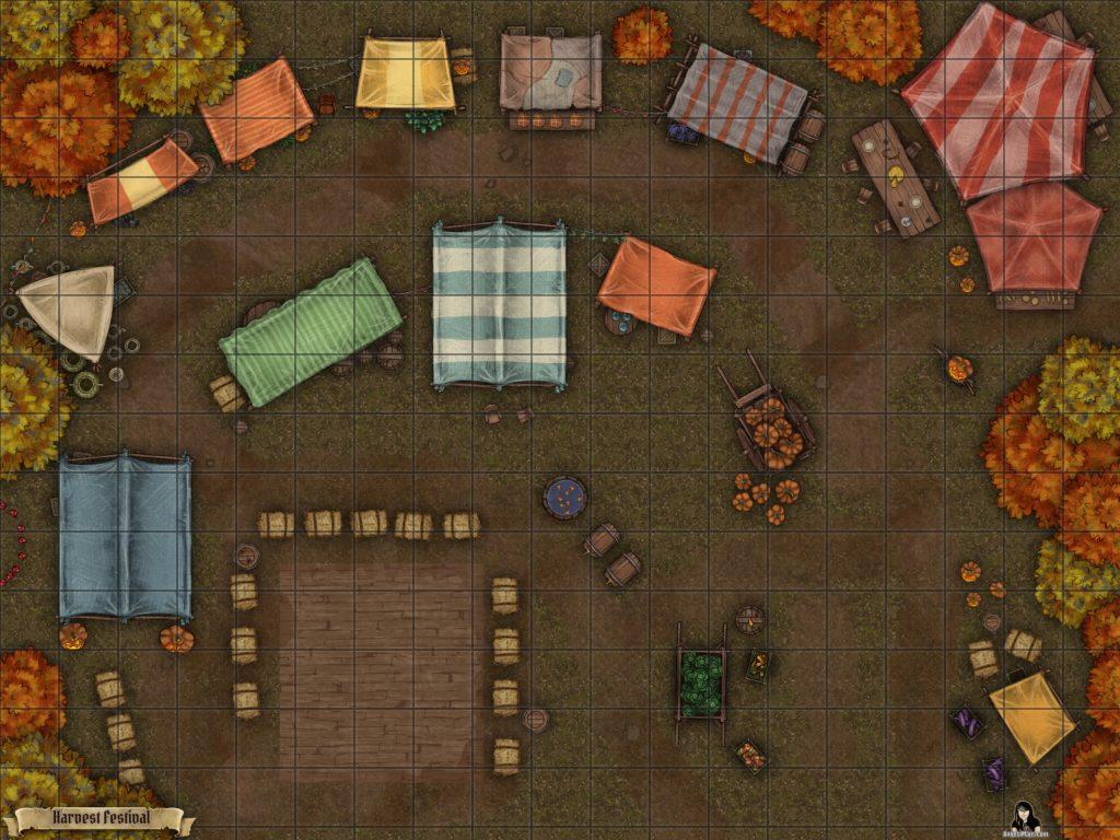 Harvest festival battle map encounter for TTRPGs like D&D and pathfinder