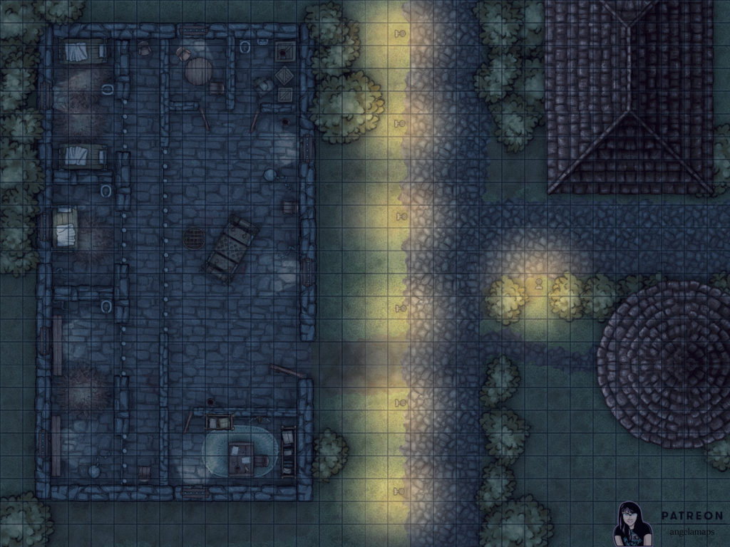 Night time jail battle map encounter for D&D and pathfinder