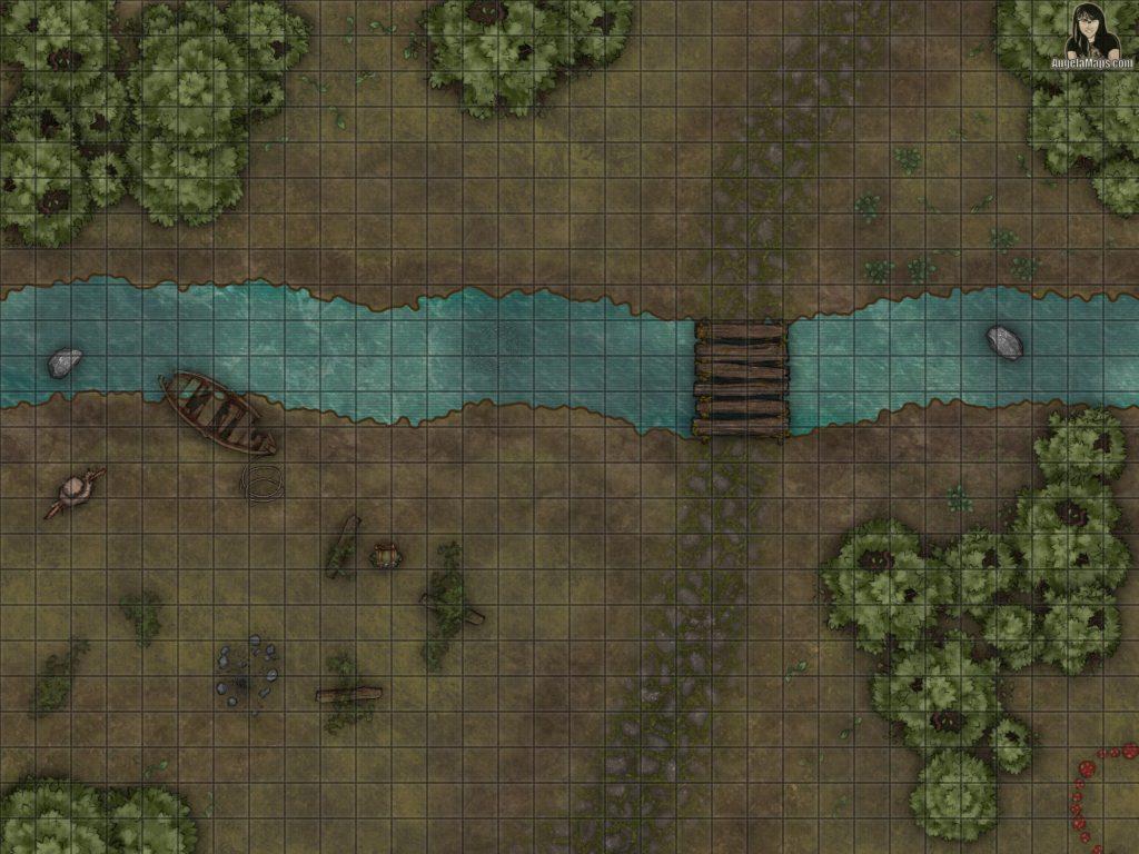 Long abandoned camp battle map encounter in a forest with a river for D&D and pathfinder