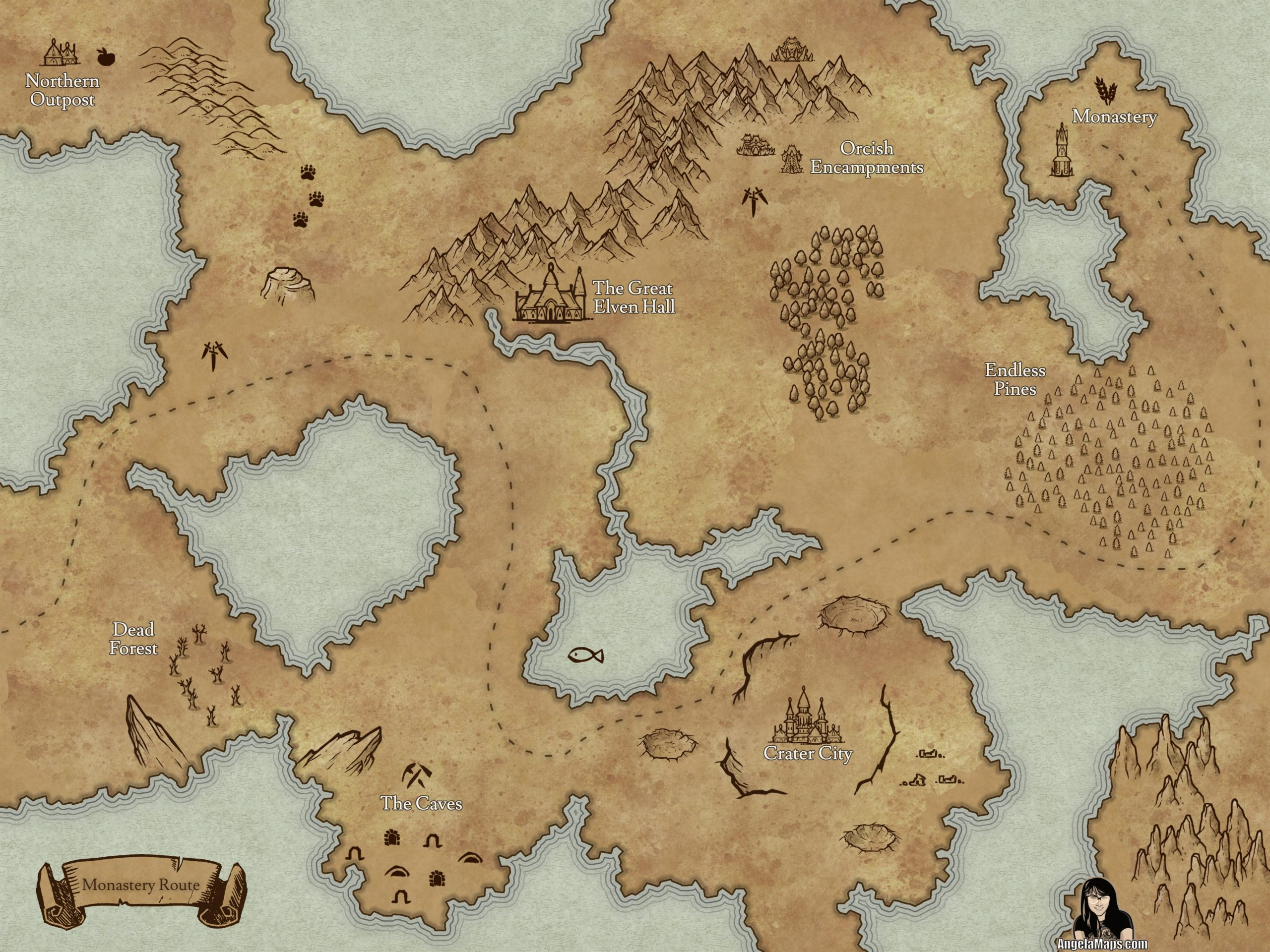 Monastary route over map for D&D