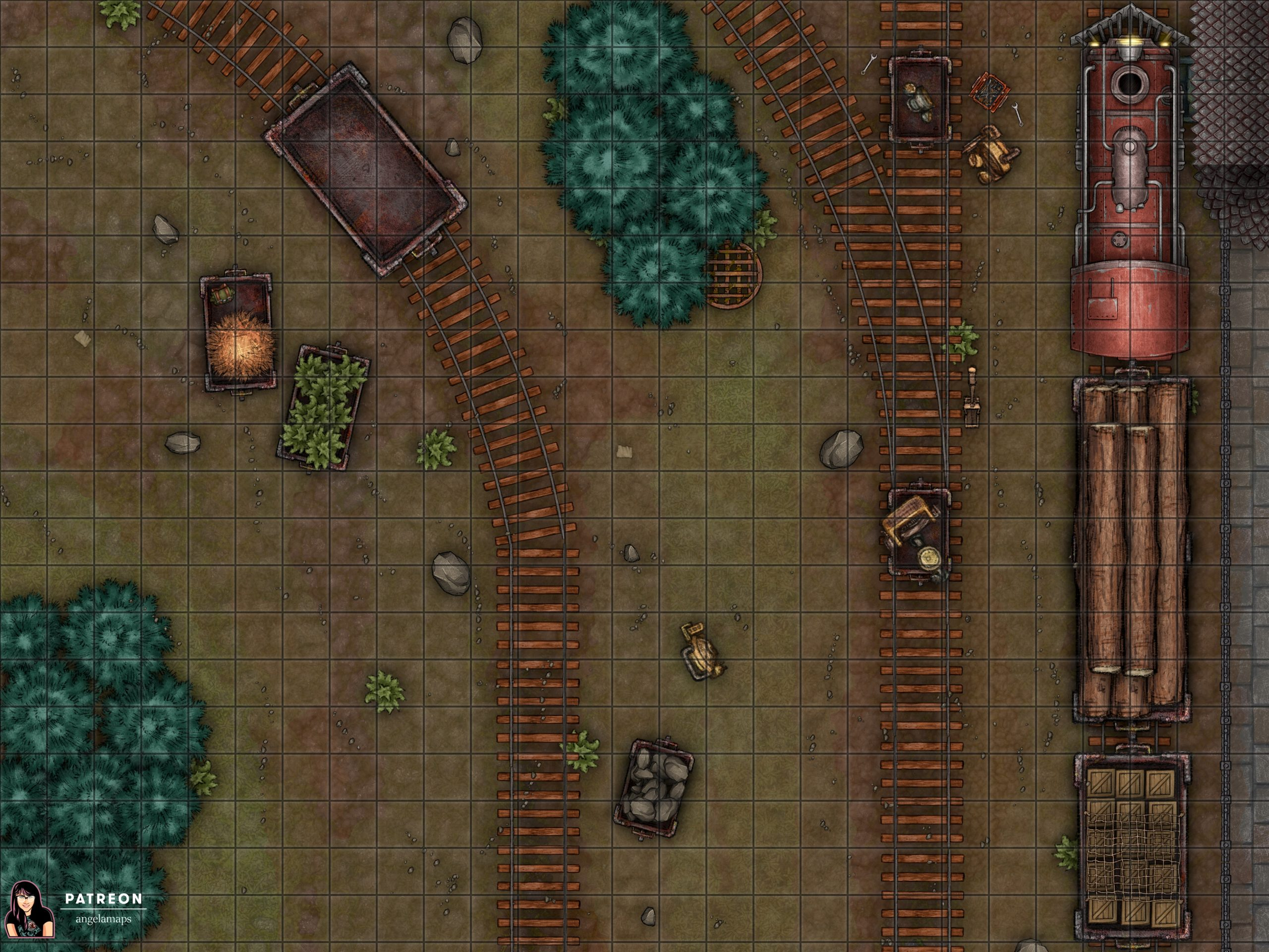 Train station battle map encounter for D&D and pathfinder TTRPGs