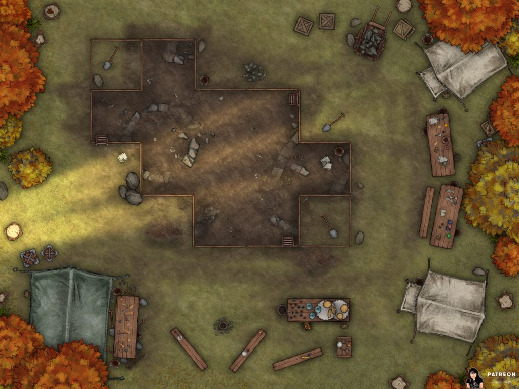 Ruins dig site encounter map for D&D and Pathfinder