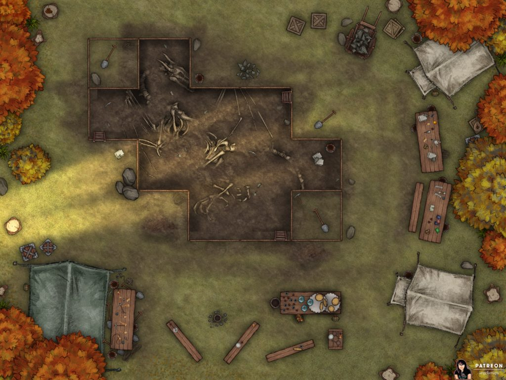 Archelogical dig site battle map encounter for D&D