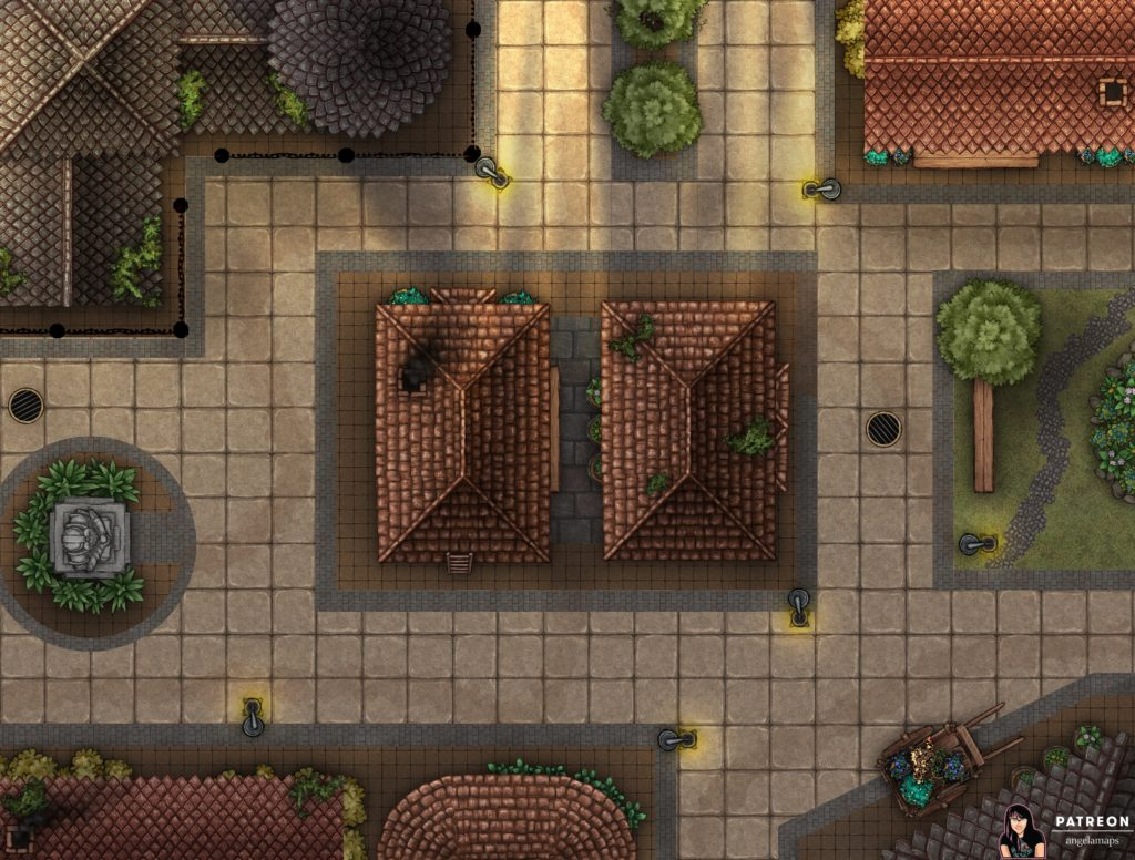 Clean city streets battle map for D&D or Pathfinder TTRPG