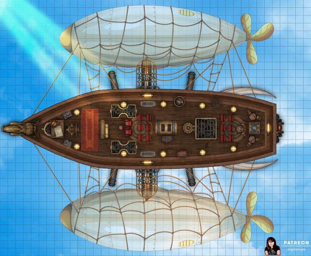 Dirigible air ship battle encounter map for D&D or pathfinder with fantasy grounds support.