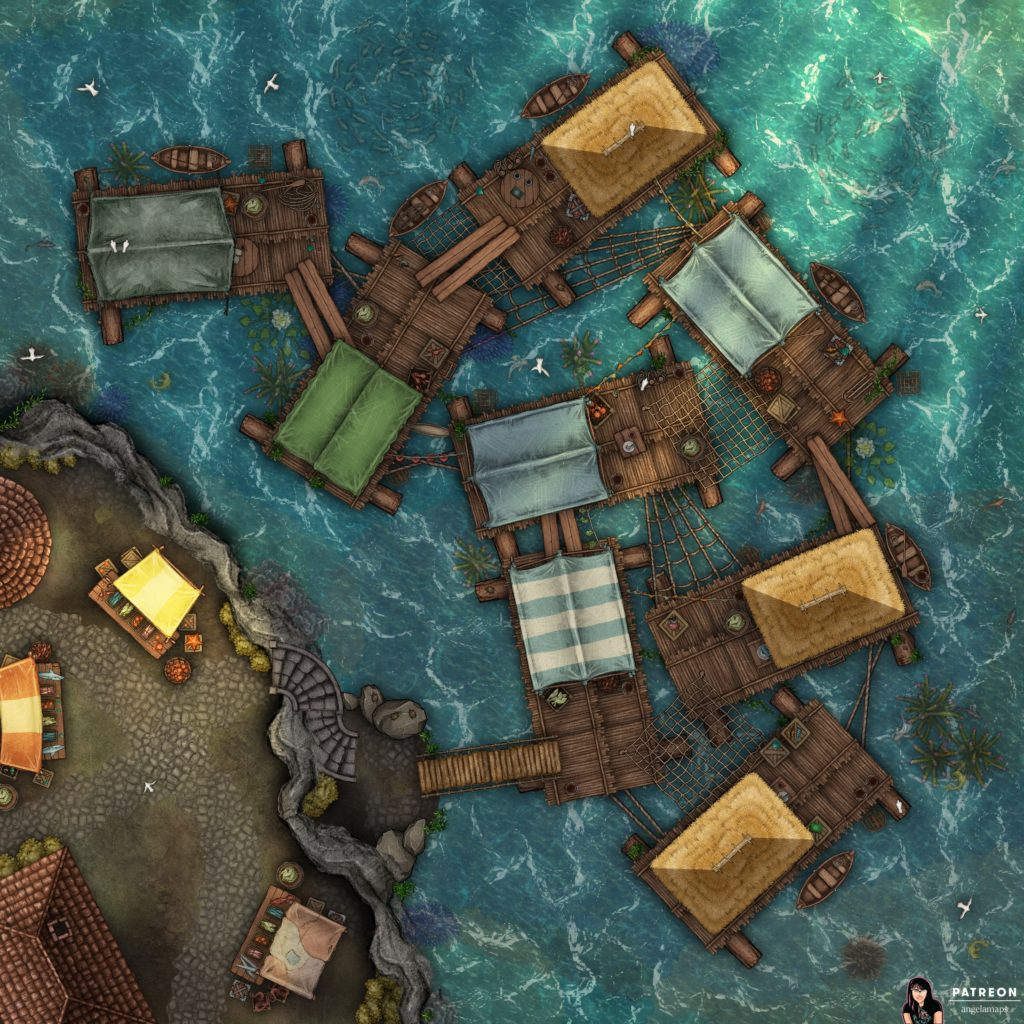 Floating fishing village battle map encounter for D&D or pathfinder and other TTRPGs