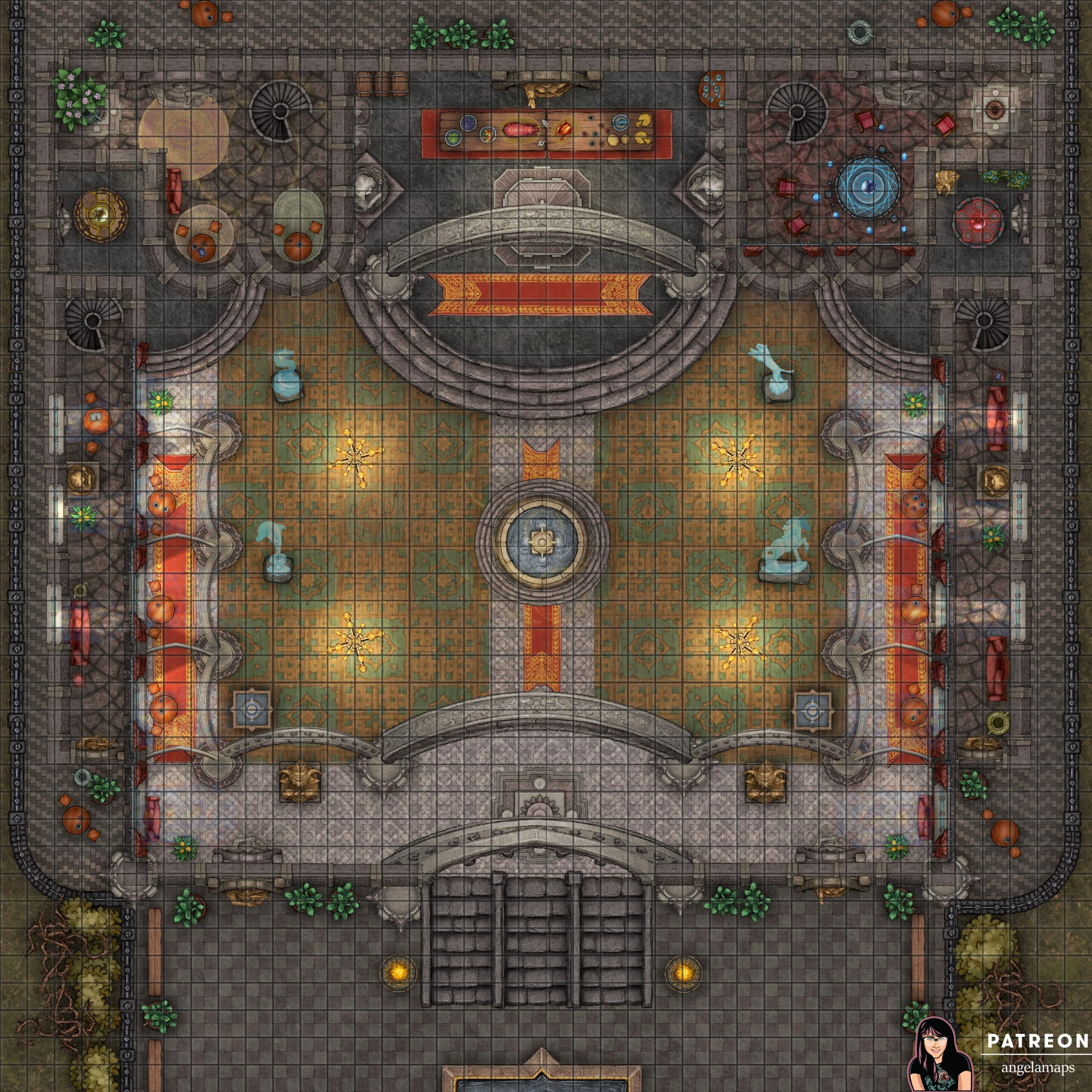 Grand ball room battle map encounter for D&D, pathfinder and TTRPGs with fantasy grounds support
