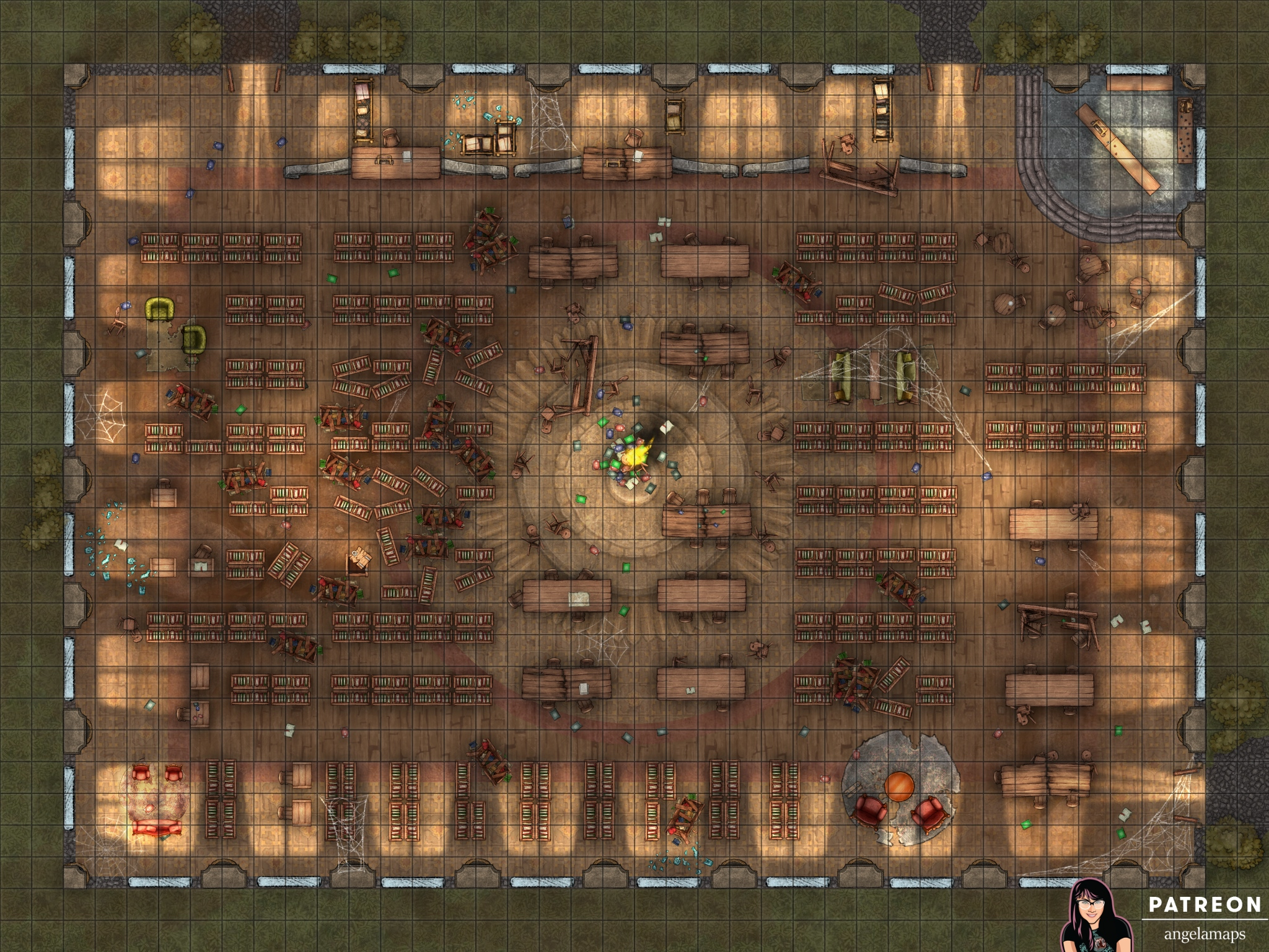 Destroyed library battle map encounter for ttrpgs like D&D and pathfinder
