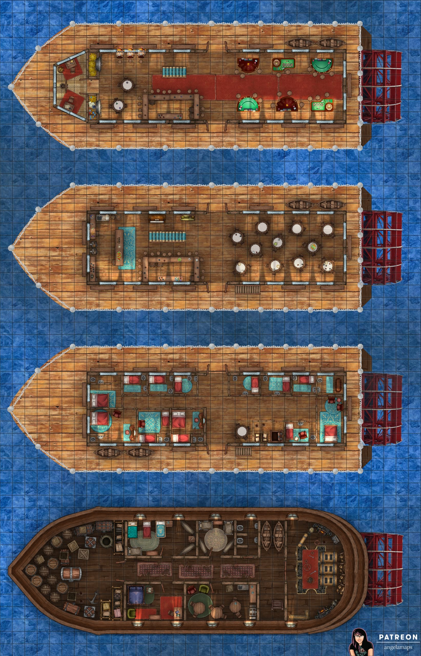 Riverboat and Casino battle map with for floors of boat. For D&D and Pathfinder or other TTRPGs