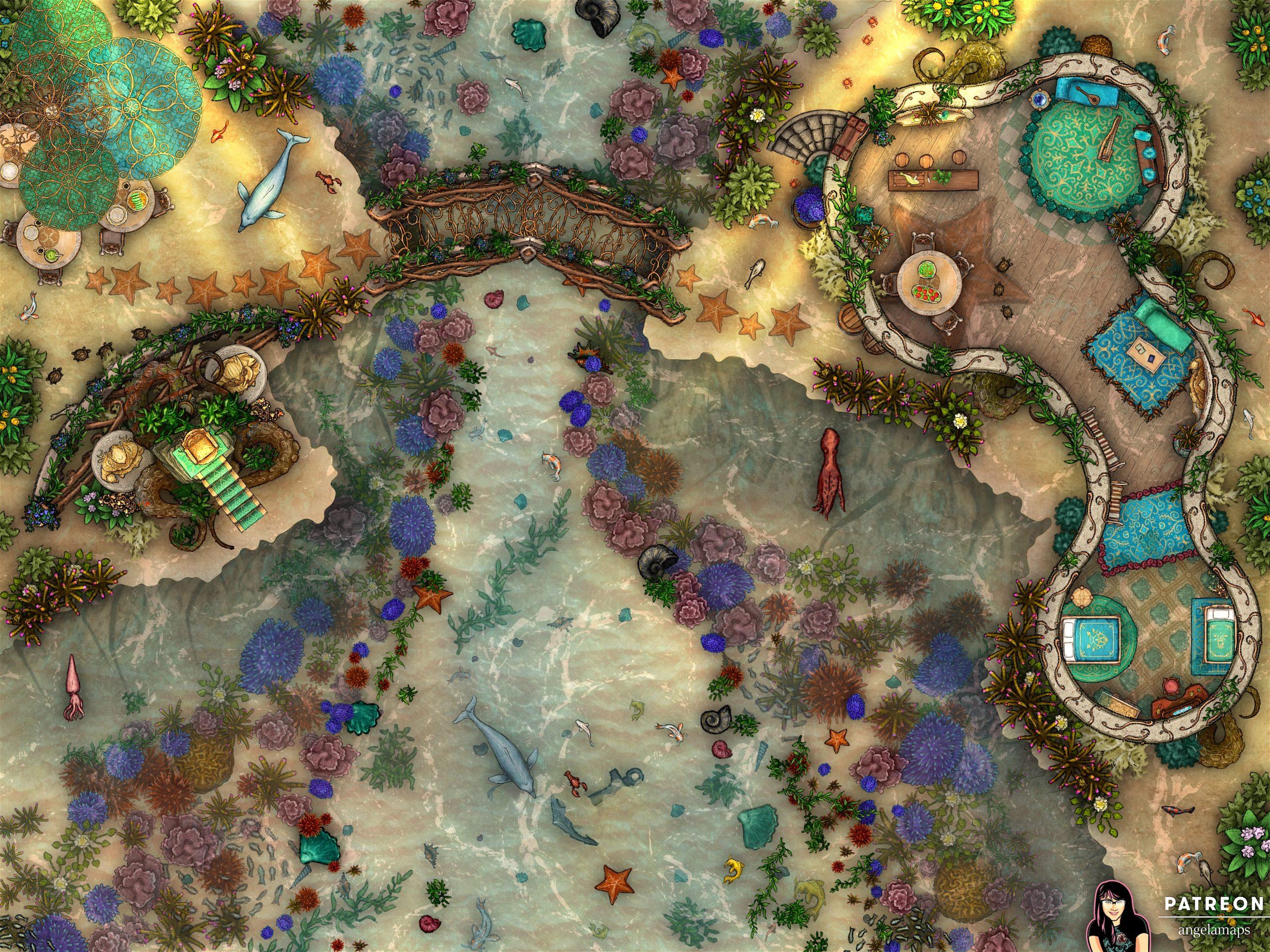 Sea elves aquatic elf battle map for D&D or pathfinder TTRPG