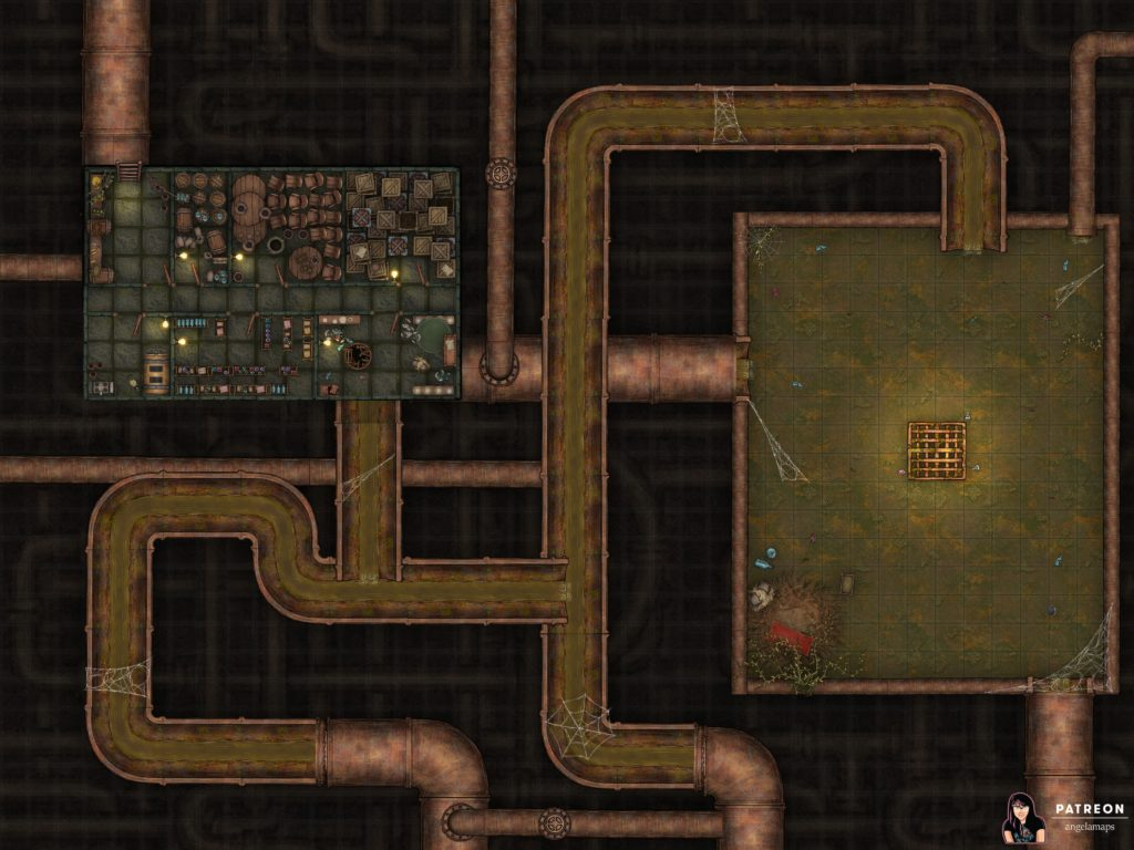 Sewer battle map for TTRPGs