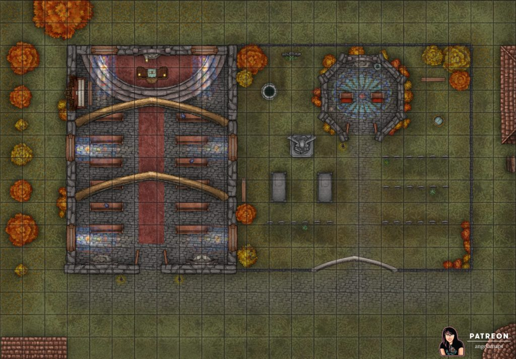 Small church and graveyard battle map encounter for TTRPGs