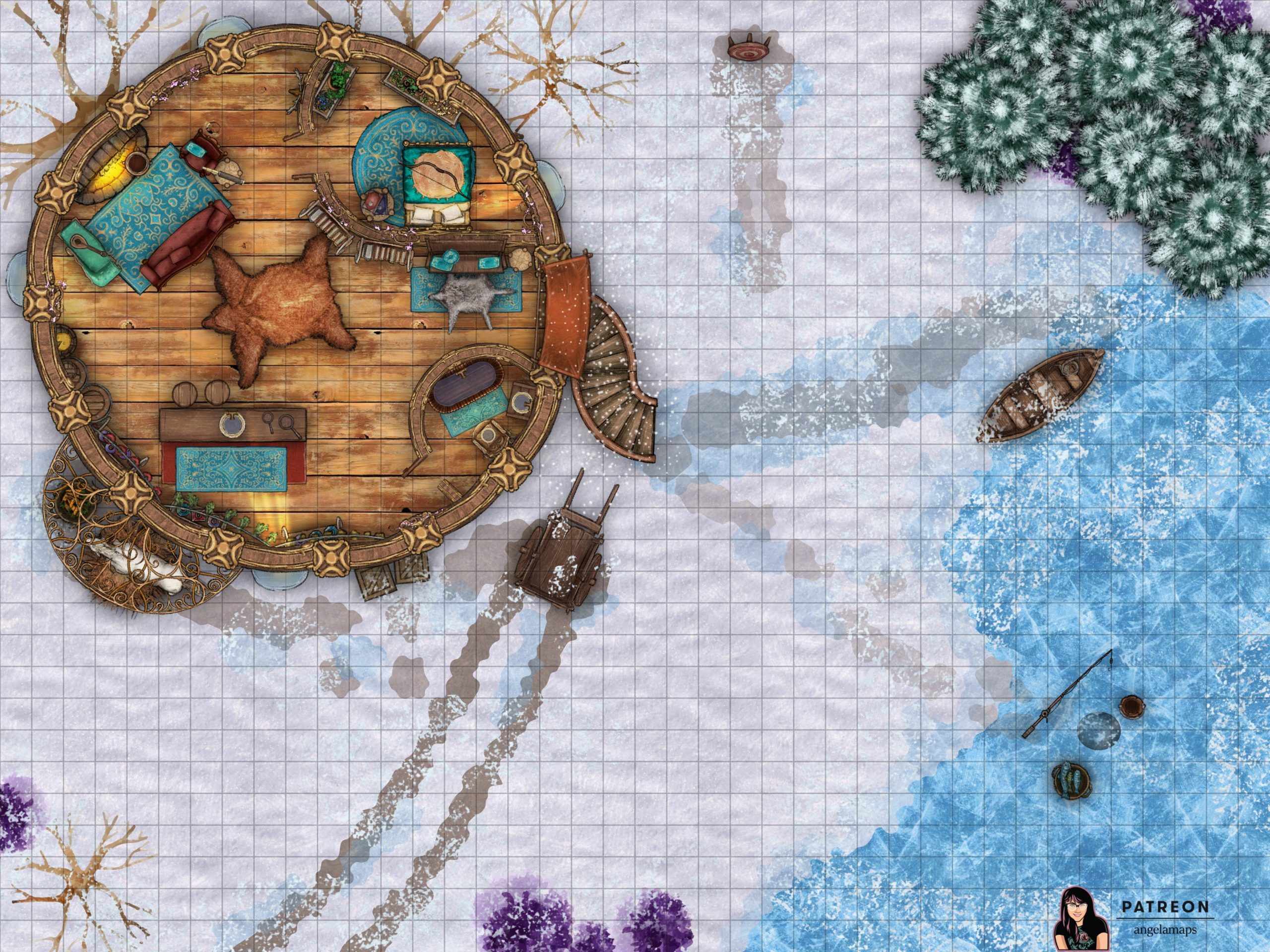 Small cabin in the woods in winter, somewhat elven looking, battle encounter map for D&D or pathfinder.