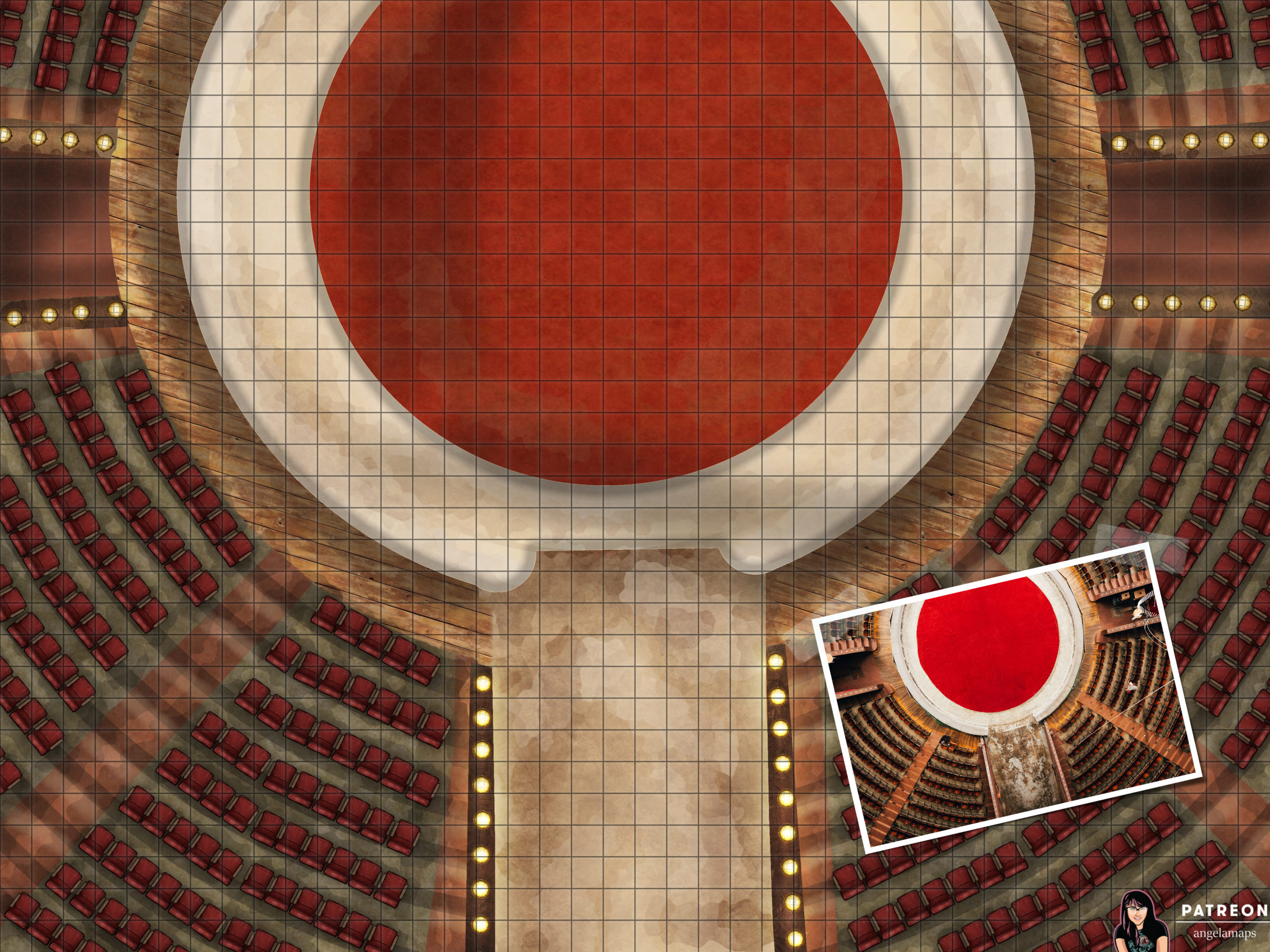 Circus or arena battle map encounter for TTRPGs such as D&D or Pathfinder