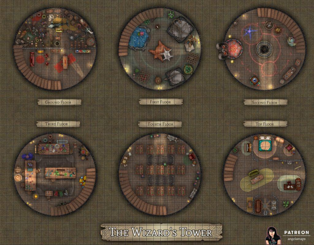 Six floor wizard tower battle map encounter for D&D and pathfinder TTRPGs