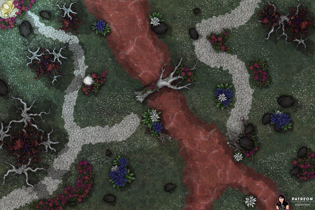 River of blood battlemap for TTRPGs