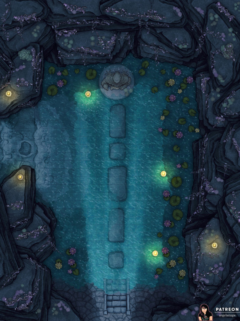 Elven battle map in a water temple