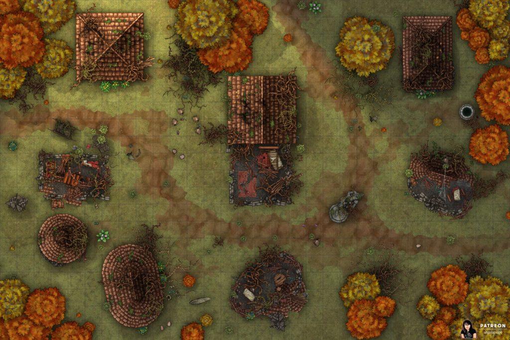 Druid's Wrath destroyed village battlemap