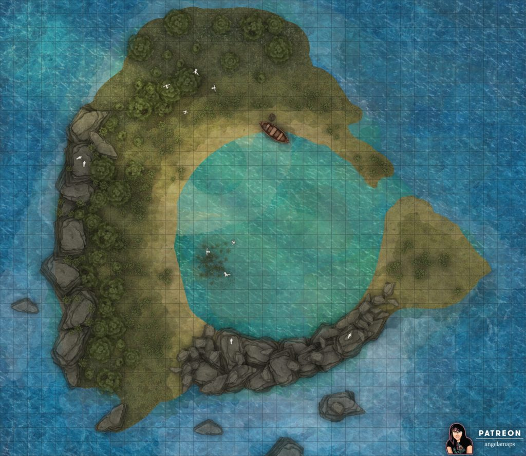 Small island (atoll) battle map for D&D