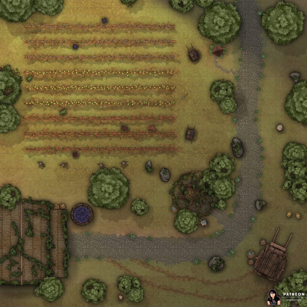 Outdoor vineyard battle map for D&D
