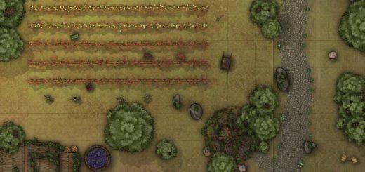 Outdoor vineyard battle map for D&D