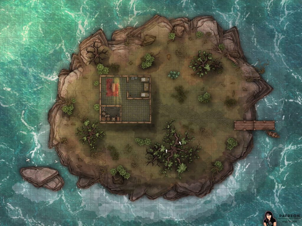 Battle map encounter of a secluded prison on an island for D&D or Pathfinder