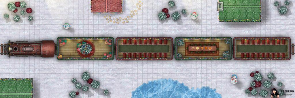 Santa express christmas time battle map for D&D