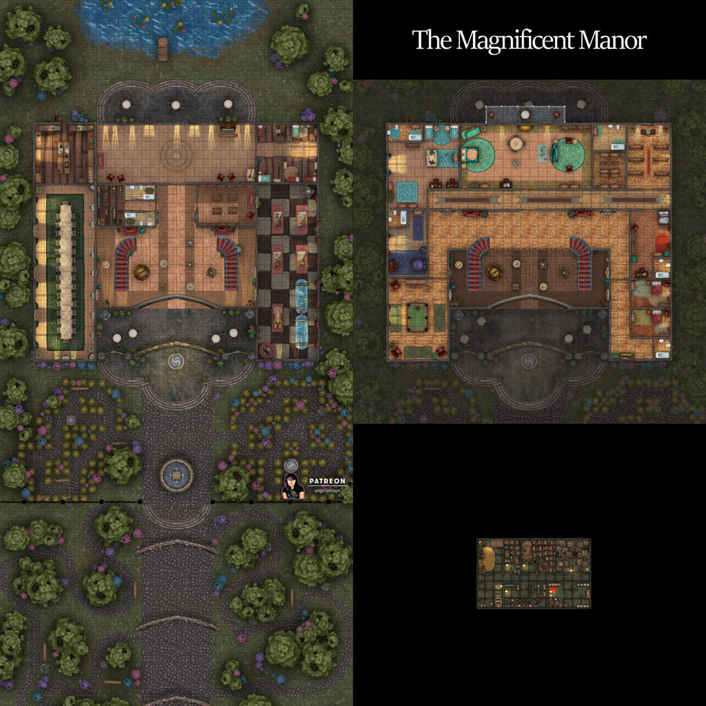 Huge manor house and grounds battle map encounter for D&D or pathfinder TTRPGs