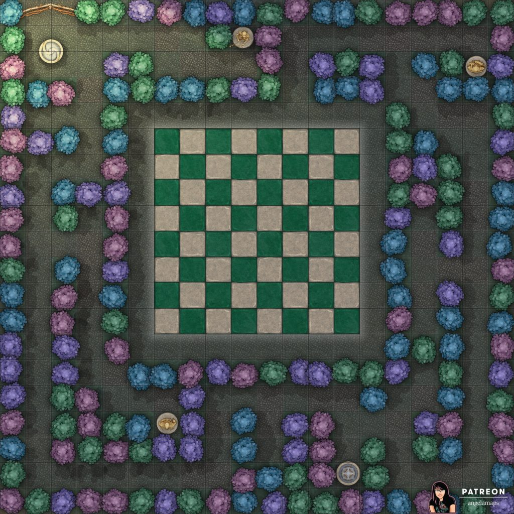 Maze battle map with chess board for D&D