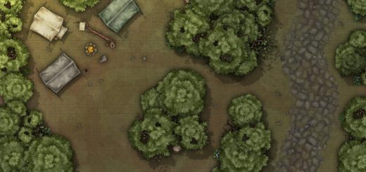 Roadside camp in the forest battlemap encounter