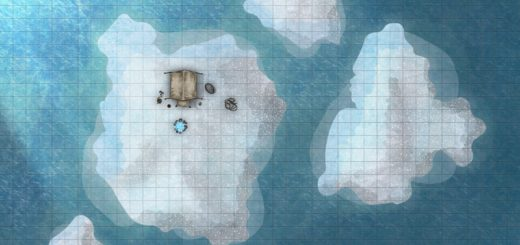 Frozen camp on an iceberg battlemap