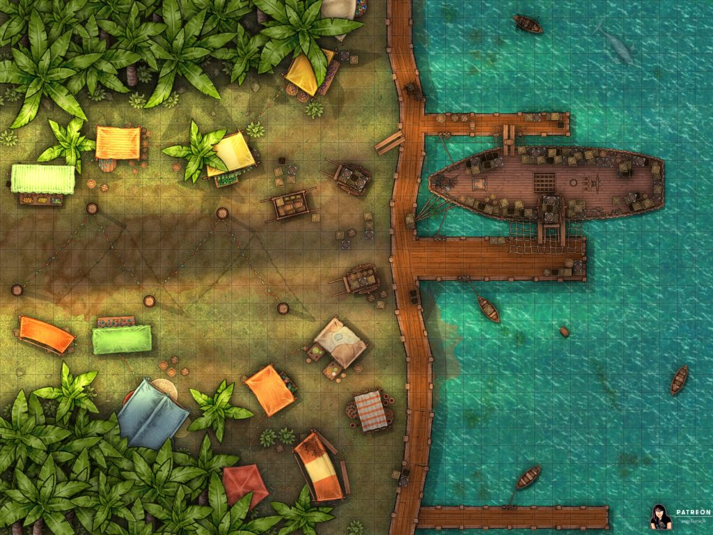 Shipping docks in the jungle battlemap for TTRPGs