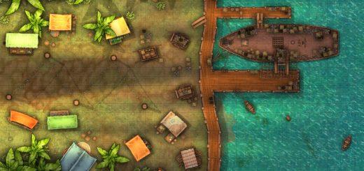 Shipping docks in the jungle battlemap for TTRPGs