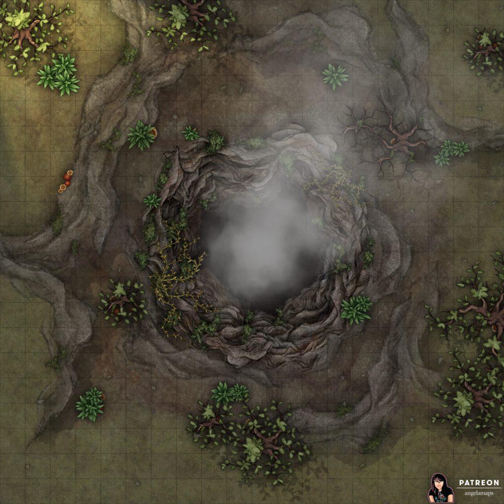 Big sink hole battle map for D&D