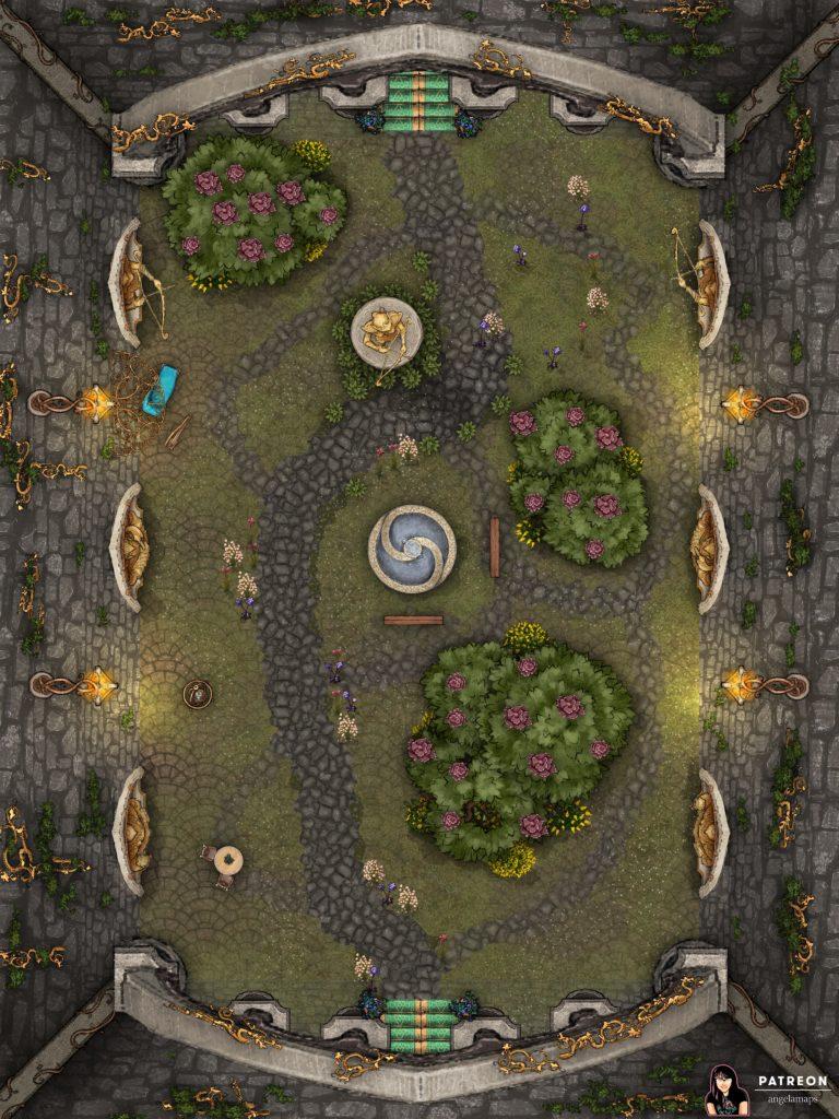 Beautiful elven courtyard encounter battlemap