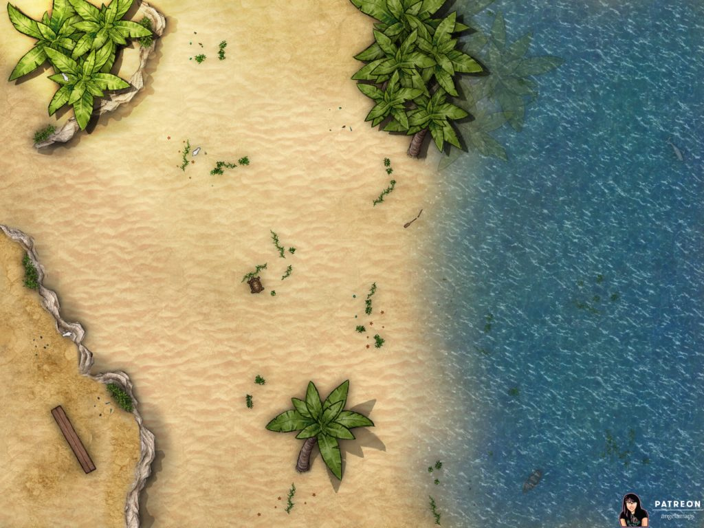 tabeltop rpg battlemap with a beach and ocean