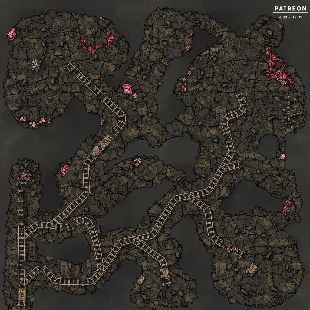 Mines battlemap for use in TTRPGs like D&D or Pathfinder.