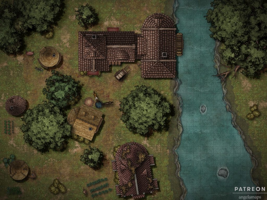 A battlemap encounter of a mill by a river for use in TTRPGs like D&D and pathfinder.