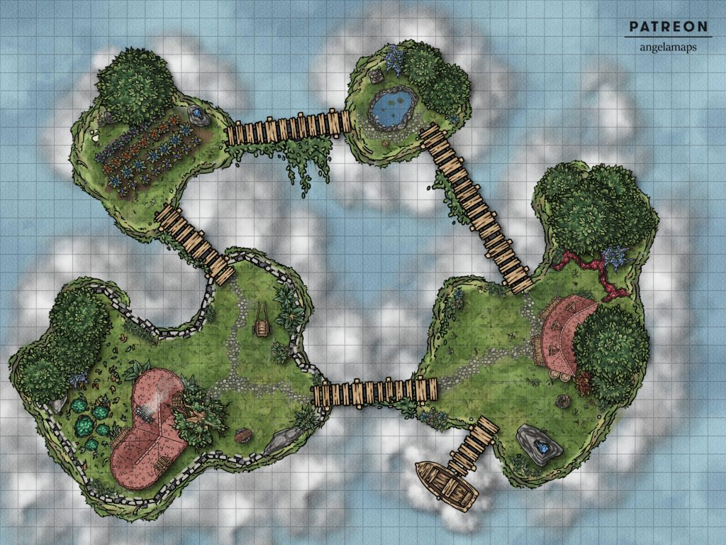 Sky island battle encounter map for TTRPGs like D&D and pathfinder