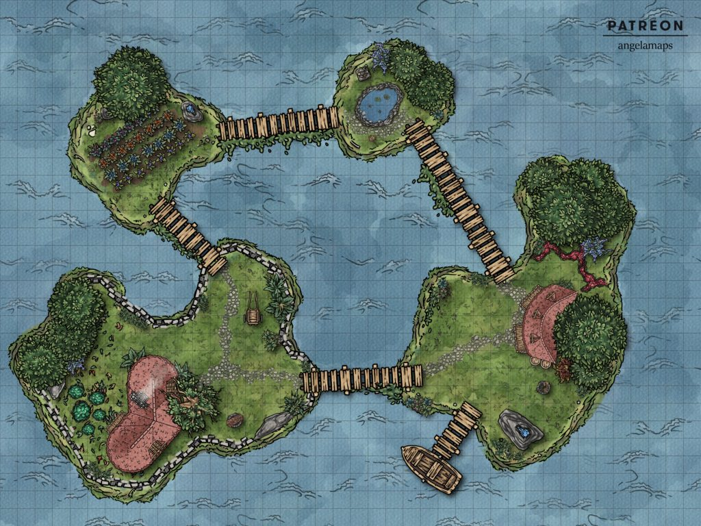 Islands battle map with fantasy grounds animation, line of sight and grid.