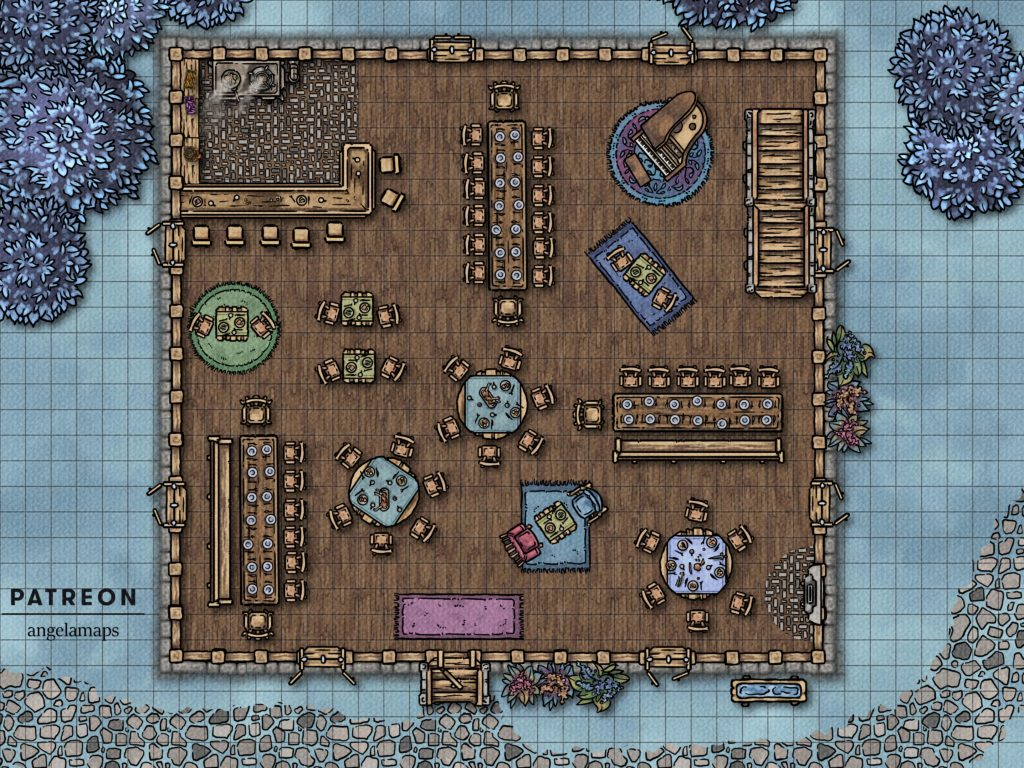 Clean cheerful inn battle encounter map for use in Fantasy Grounds in your next D&D adventure.