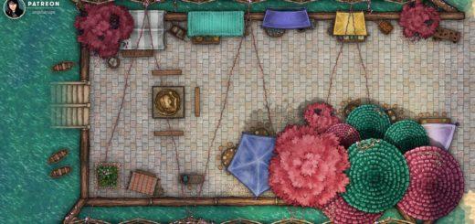 Colorful Market TTRPG Battlemap