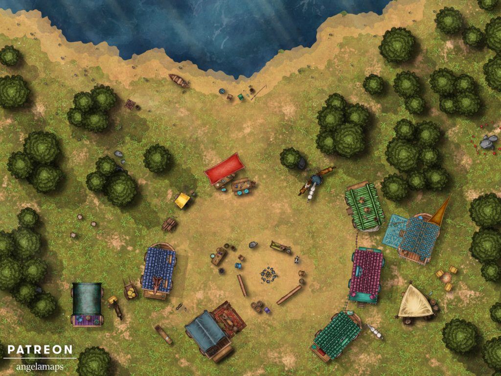 Caravan wagons encampment battle map encounter for D&D or Pathfinder with Fantasy Grounds support