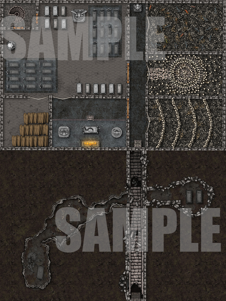 Catacombs with ossuary battlemap