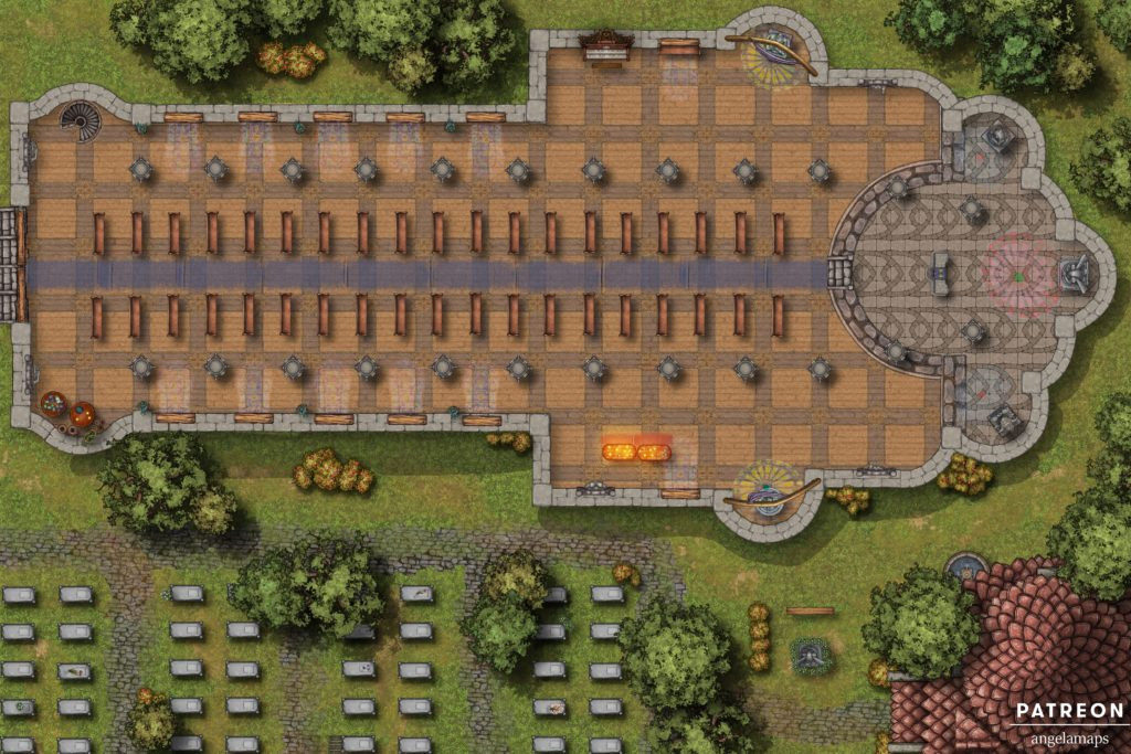 Large cathedral battle map with catacombs for D&D or pathfinder with fantasy grounds support
