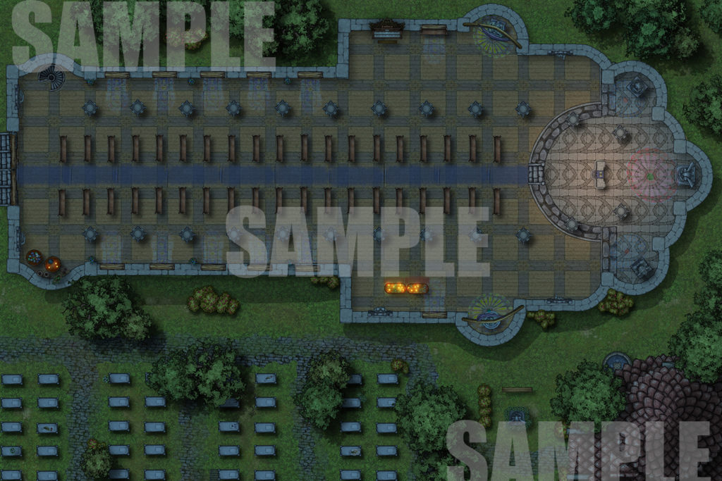 Night time cathedral battlemap
