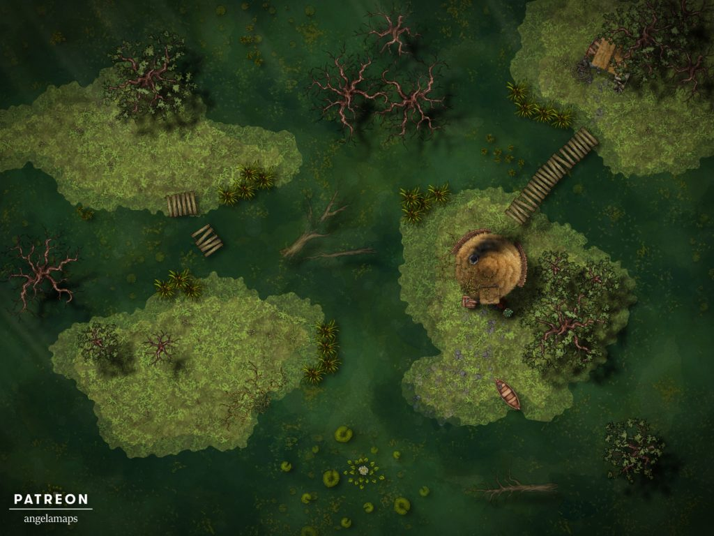 Swamp battle map for D&D, could be Berez, with fantasy ground support